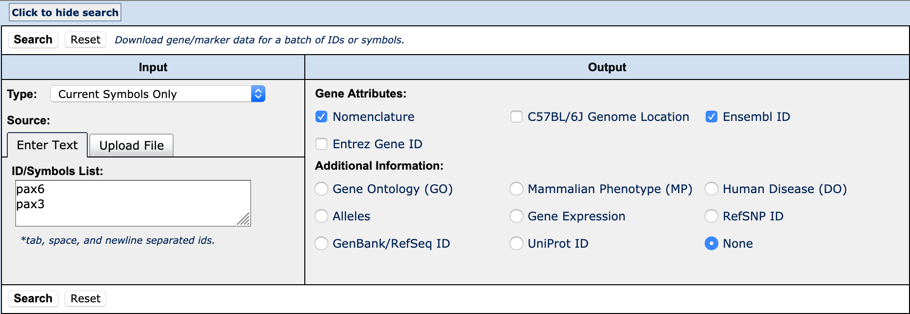 Mgi 612 Find Accession Ids For A List Of Genes