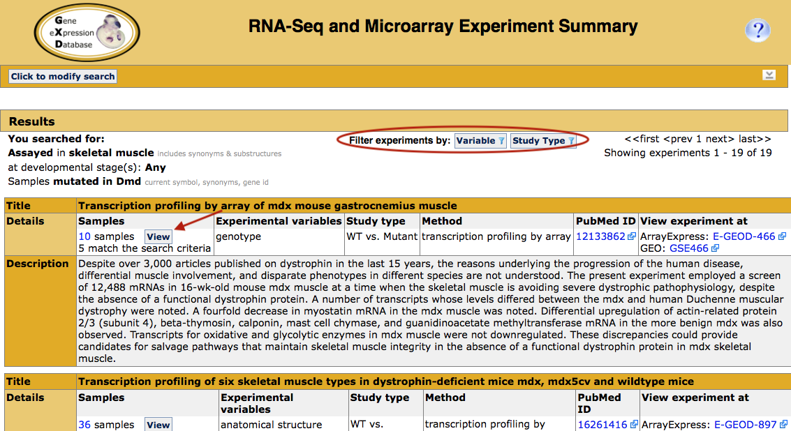 RNA-Seq and Microarray Experiment Search results