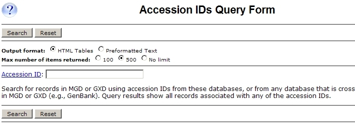 Accession ID Query Form