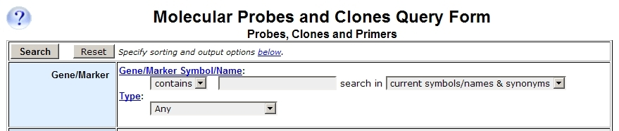 Probes and Clones Query Form