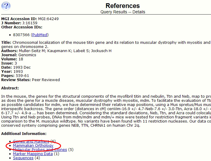 Reference Detail Page link to Orthology Data
