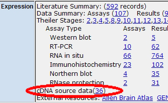 cDNA Clone Link on Marker Detail Page